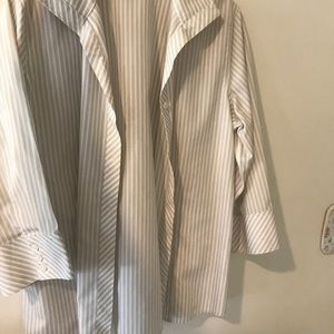 CHICOS STRIPED BUTTON UP WORK SHIRT